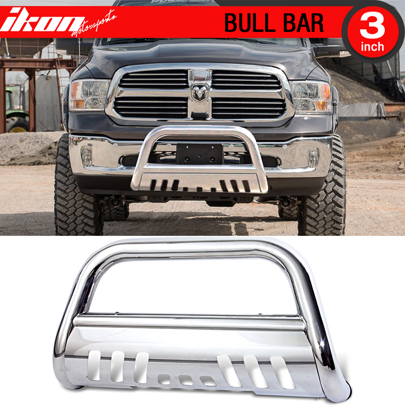 Ikon Motorsports Grille Guard With Skid Plate - Fits 09-17 Dodge Ram 1500 Stainless