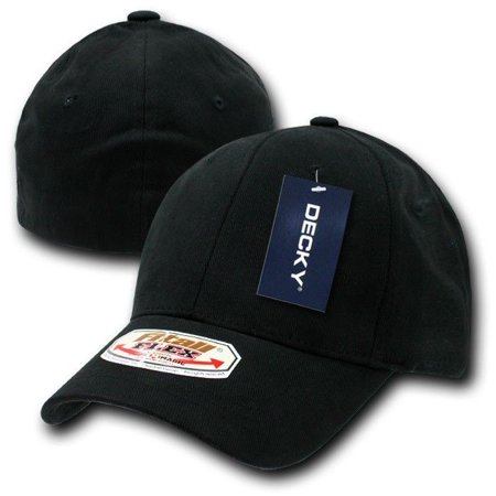 Black Solid Blank Plain Flex Curved Baseball Ball Fit Fitted Cap Caps Hat - S/M
