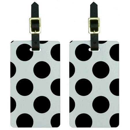 Mega Polka Dots Black White Luggage Tags Suitcase Carry-On ID, Set of - White Suitcase