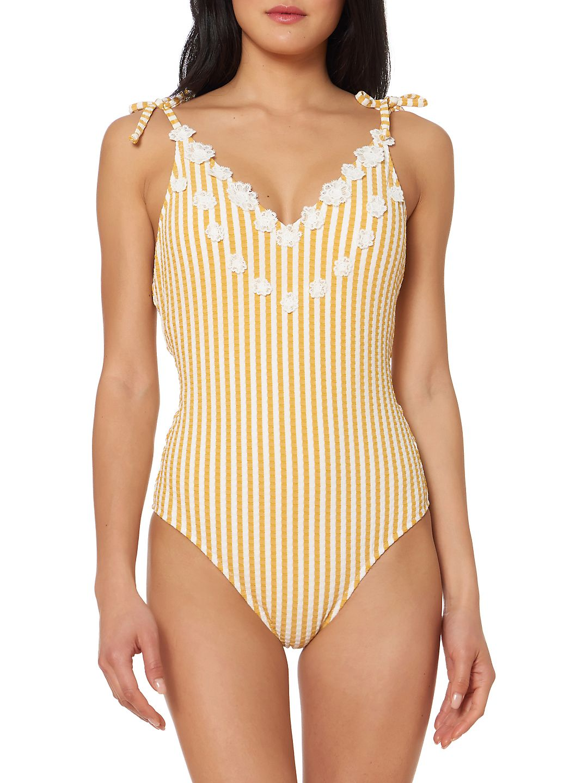 Striped Self-Tie One-Piece Swimsuit