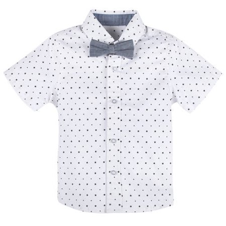 8a9cc8df G-Cutee - Little Boys Black and White Star Shirt with DetachableChambray  Bowtie, Available in Size 4-7 - Walmart.com