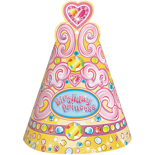 Pretty Princess Birthday Party Hats, 8-Count