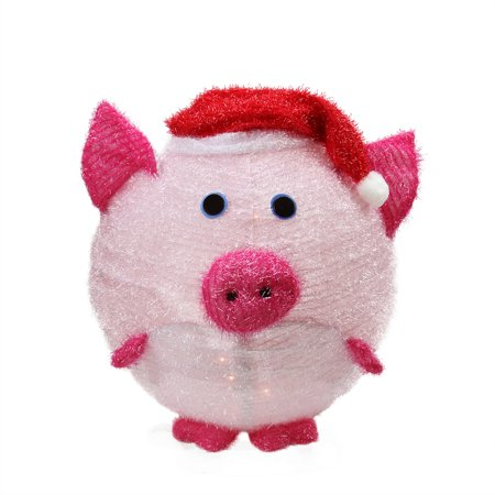 20 lighted 3 d chenille chubby pink pig in santa hat