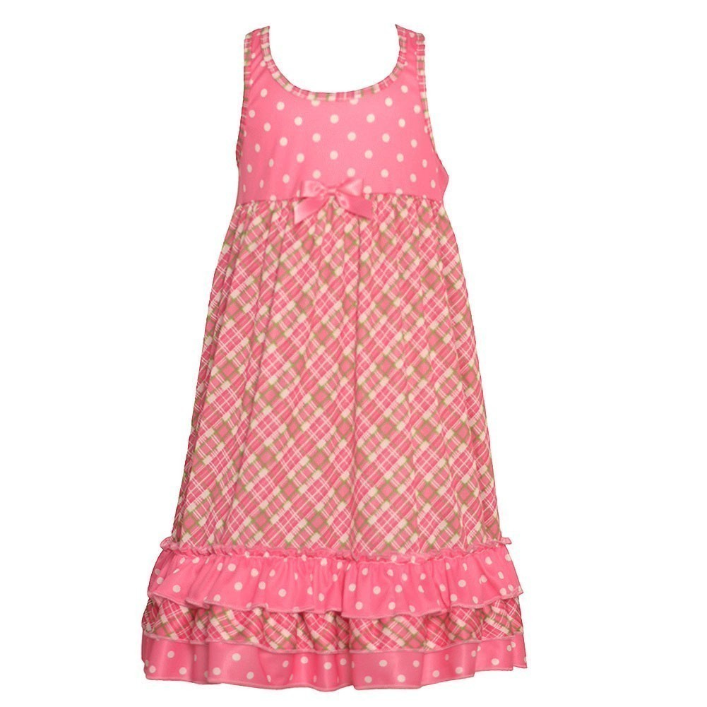 New ICM Laura Dare Girls Pink Plaid Polka Dot Pattern Rac...