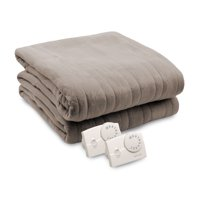 Biddeford Blankets Comfort Knit Fleece Heated Electric Blanket, Twin, Gray