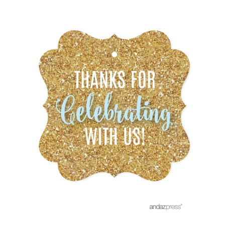 Signature Baby Blue, White, Gold Glittering Party, Fancy Frame Gift Tags, Thanks for Celebrating With Us!, 24-Pack - Halloween Tags For Food