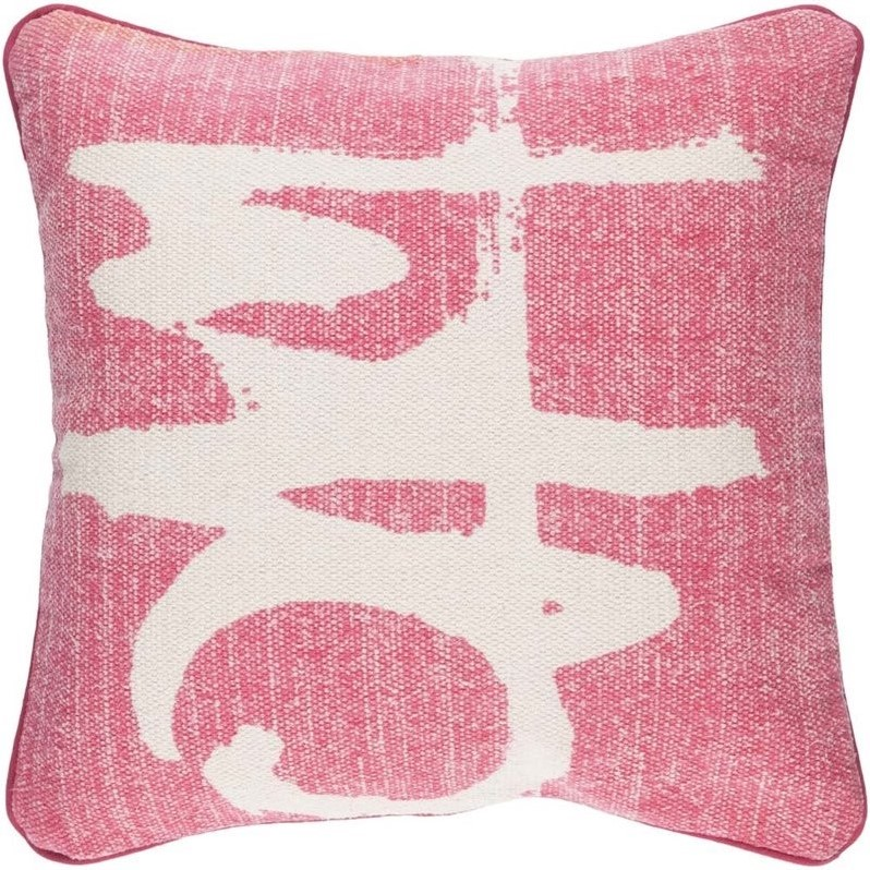 "Surya Bristle Down Fill 20"" Square Pillow in Pink"