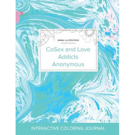 Adult Coloring Journal : Cosex and Love Addicts Anonymous (Animal Illustrations, Turquoise Marble)
