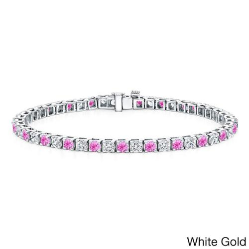 Auriya 14k Gold 3 1 2ct Pink Sapphire and 3 1 2ct TW Diamond Tennis Bracelet (H-I, SI1-SI2) by Overstock