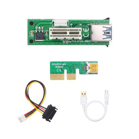 Mini PCI-E X1 Extension Cable PCIE 1X Expansion Riser Card 90°Right Angle with USB Cable and SATA Cable - image 4 of 7