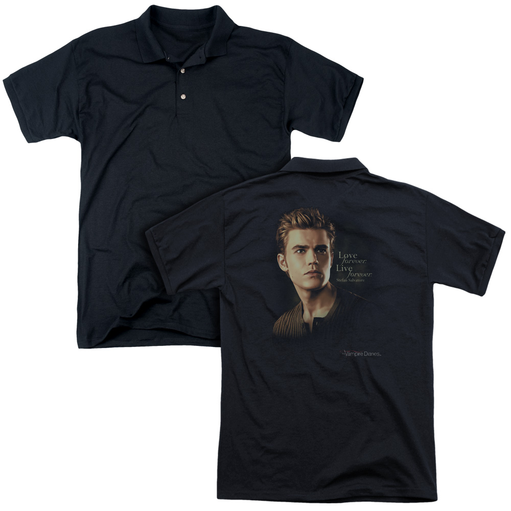 The Vampire Diaries TV Show Stefan Forever Adult Back Print Polo T-Shirt