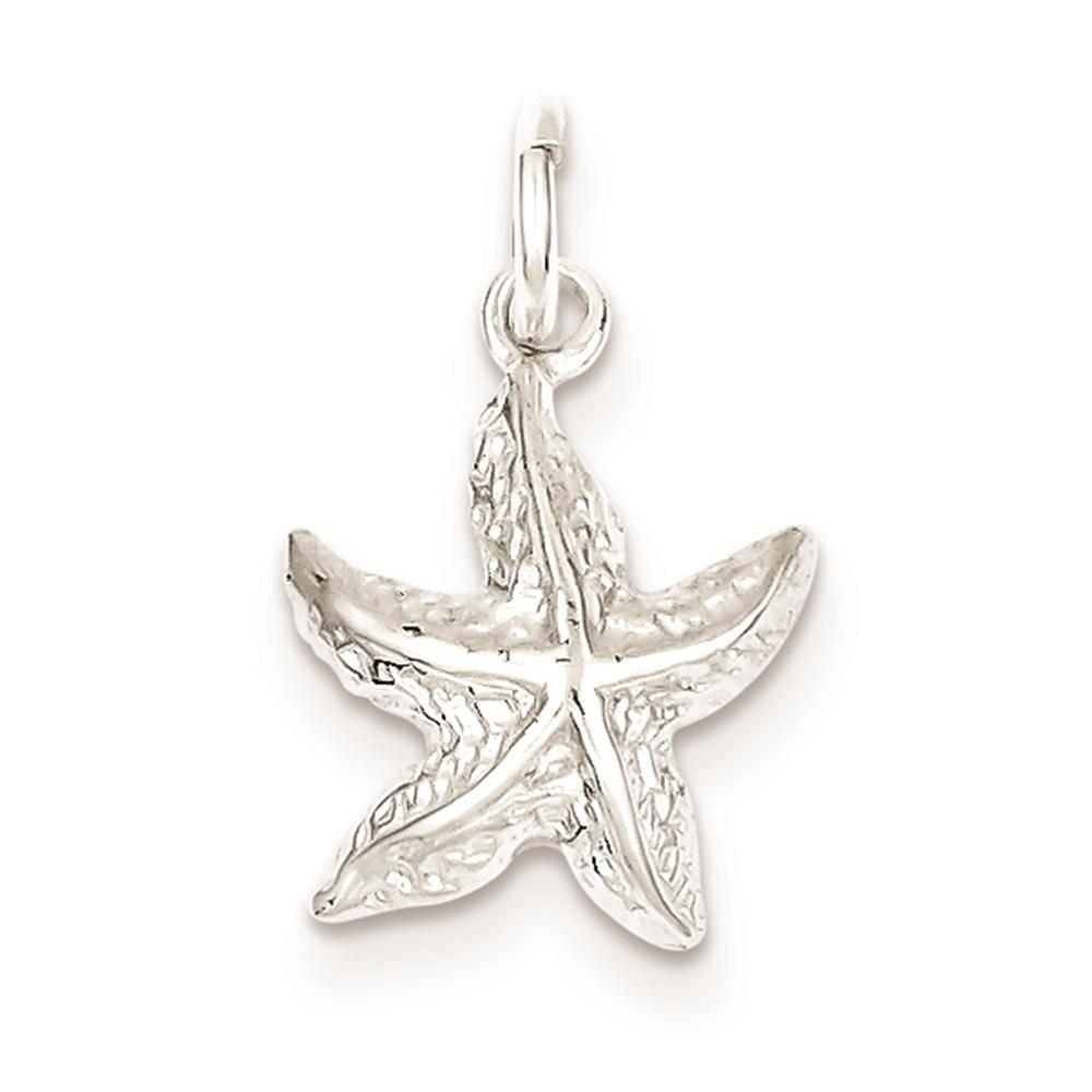Sterling Silver Polished Starfish Solid Open back Charm Pendant 17mmx13mm