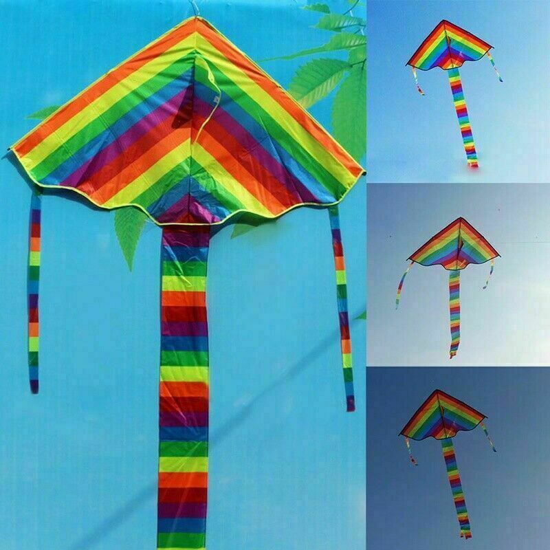 Rainbow Triangle Kite Outdoor Children Fun Sports Kids Children Toys Air Fly