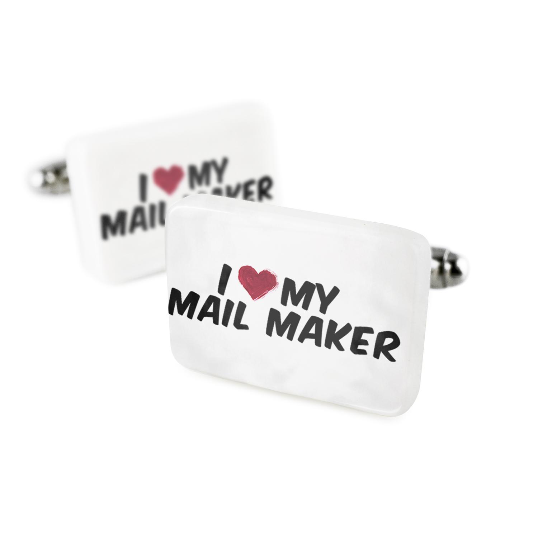 Cufflinks I heart love my Mail Maker Porcelain Ceramic NEONBLOND