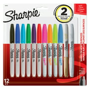 Sharpie Permanent Markers, Fine Point, Assorted Bold Colors, 12 Count
