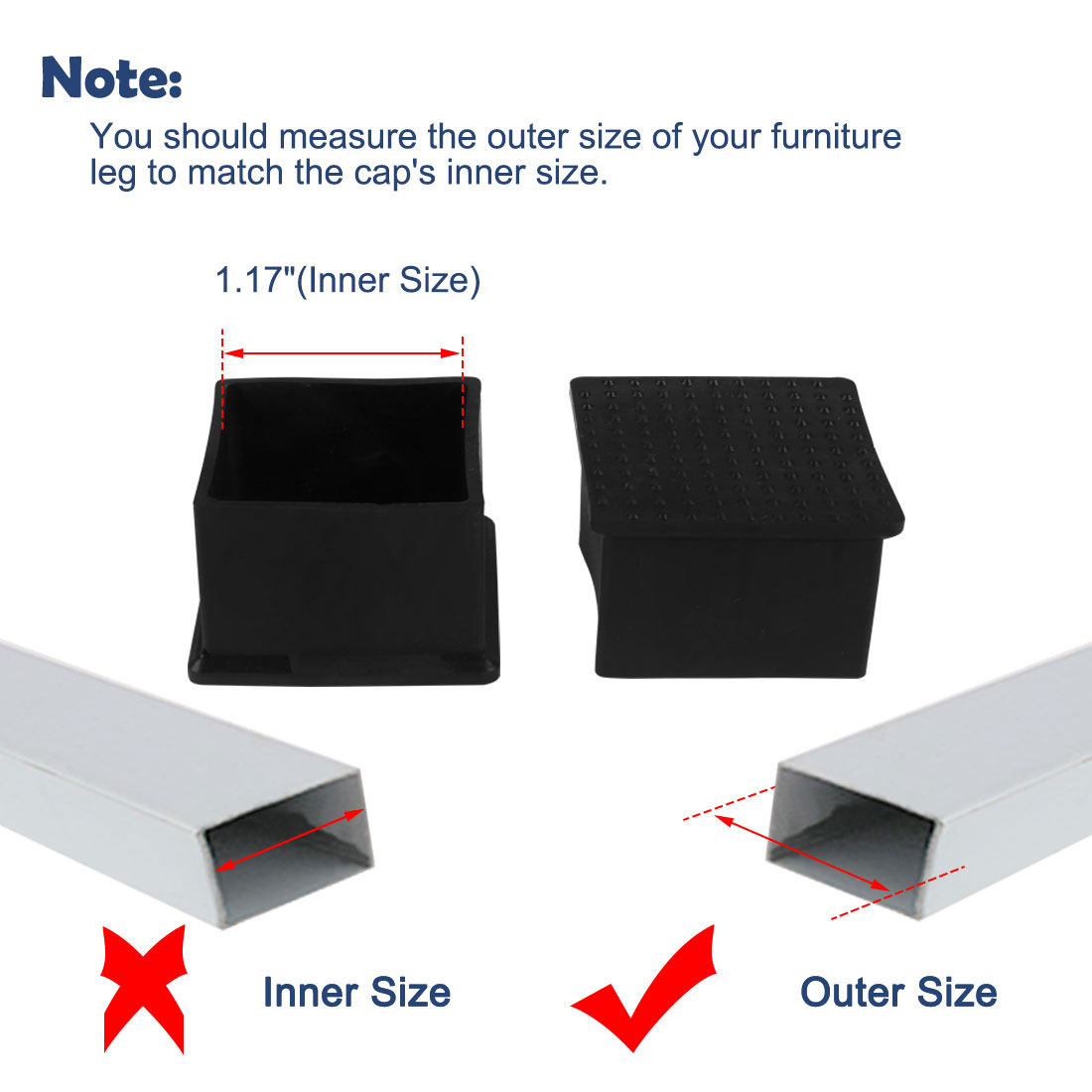 """Desk Table Leg Caps End Tip Home Furniture Protector 25pcs 1.77""""x1.77"""" (45x45mm) - image 4 of 7"""