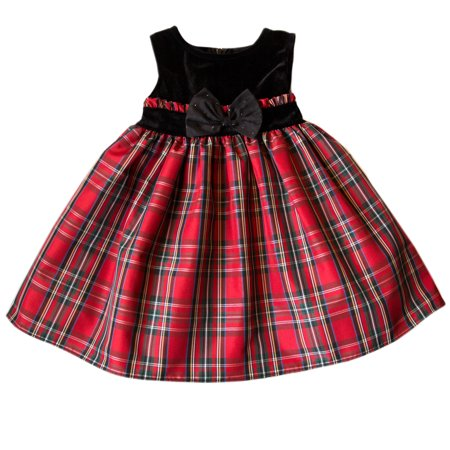 Good Lad Toddler Girls Red and Green Plaid Hoiday Dress with Velvet Yoke ()