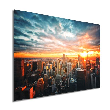 New York Christmas Windows (New York City Sunset Cityscape Silk Cloth Poster Home Decor Picture Painting Wall Decor Christmas Gift 35 x 23
