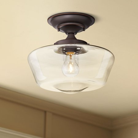 Regency Hill Schoolhouse Ceiling Light Semi Flush Mount Fixture Oil Rubbed Bronze 12
