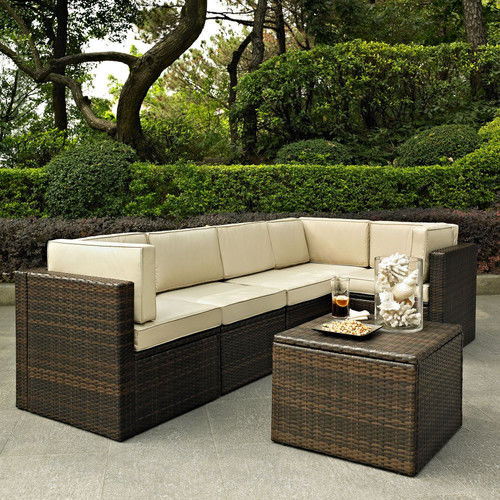 Crosley Furniture KO70007BR-GY Palm Harbor 6-Piece Resin Wicker Outdoor Sectional Seating Set (Brown/Grey)