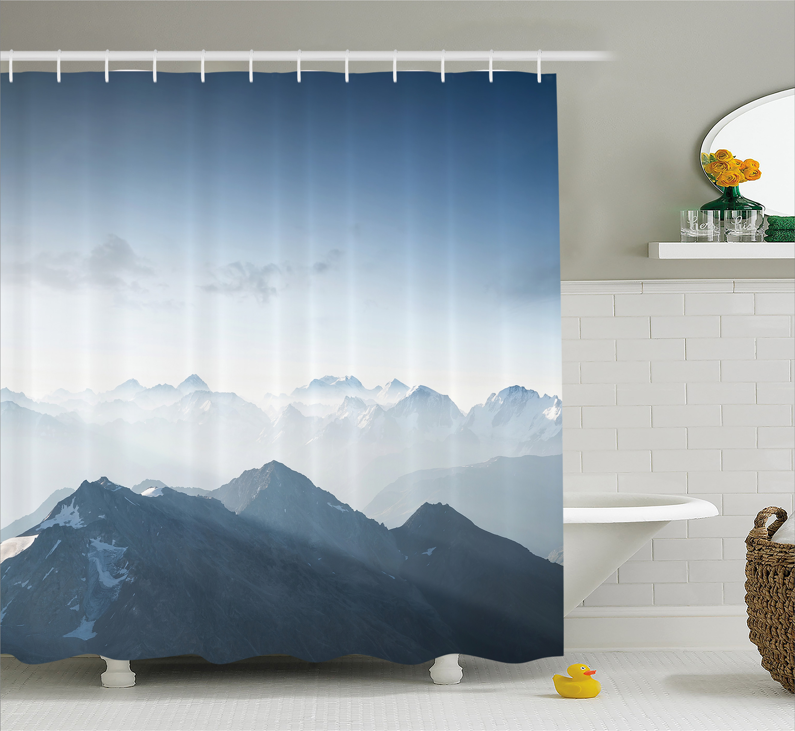 Click here to buy Farmhouse Decor Shower Curtain, Fog Morning in Rock Mountain Region in Northern Hiking Climbing Ice Photo, Fabric Bathroom Set with Hooks,... by Kozmos.