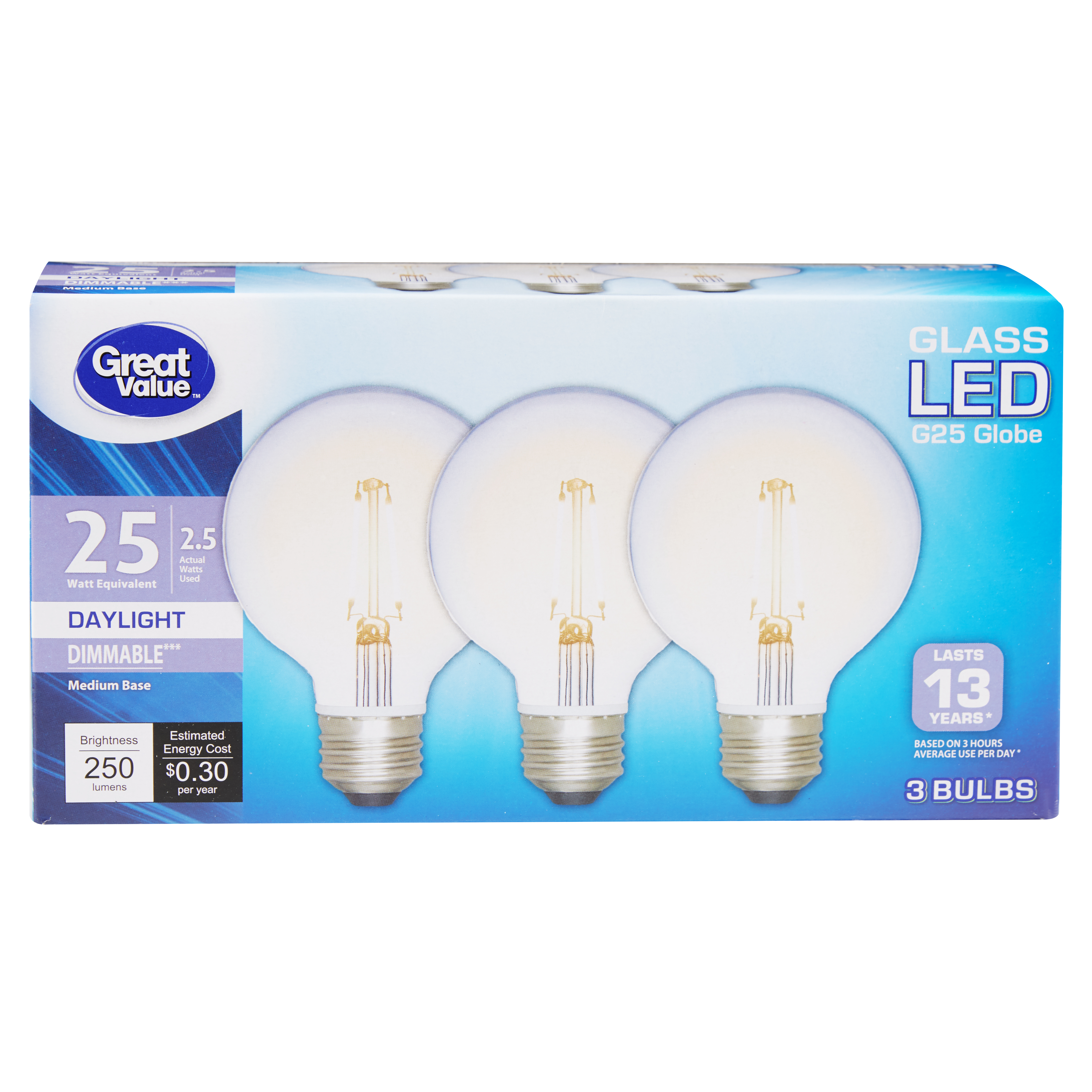 Great Value Glass Globe LED Light Bulb, Daylight, Dimmable, 2.5W (25W Equivalent), 3 Count