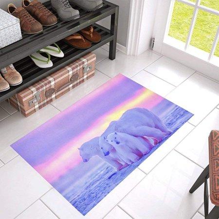 CADecor Polar Bear Cubs Canadian Arctic Sunset Non-Slip Bath Mat Rug Bath Doormat Floor Rug 30x18 inches