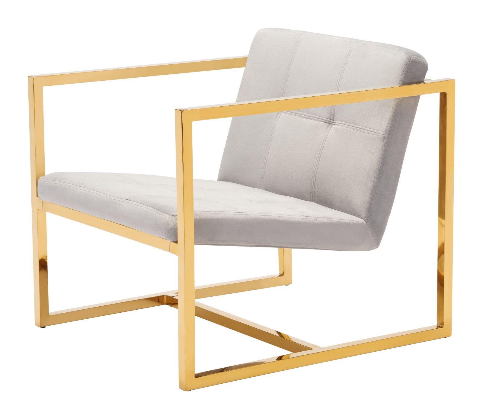 Modern contemporary armchair accent chair grey gray velvet fabric chromed steel walmart com