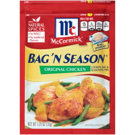 (2 Pack) McCormick Bag 'n Season Original Chicken Cooking & Seasoning Mix, 1.25 oz (Chicken Bag)