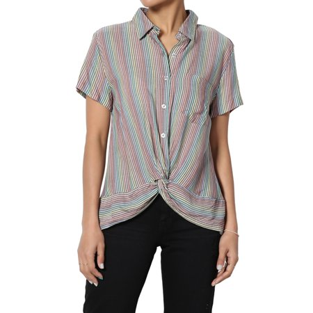 TheMogan Junior's S~3X Stripe Twist Hem Button Front Short Sleeve Crop Shirts Top