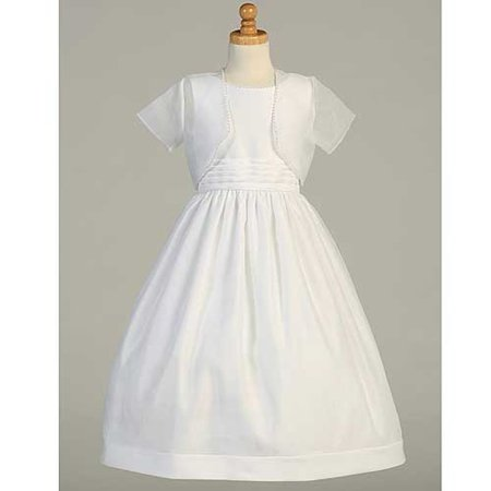 White Satin Organza First Communion Dress Bolero Set Girls 6-16.5 - First Communion Dress