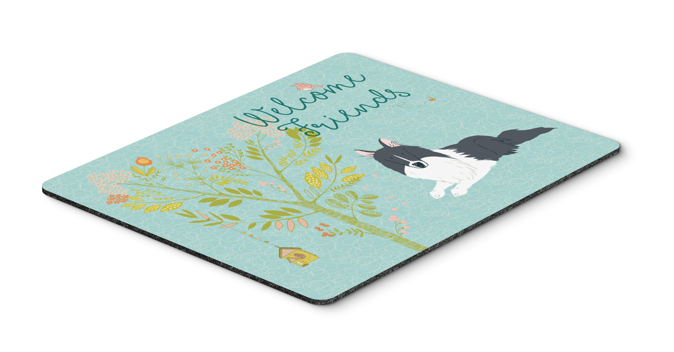 Hot Pad or Trivet Carolines Treasures BB7583MP Welcome Friends Black White Collie Mouse Pad Multicolor Large