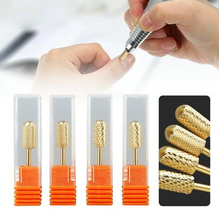 TSV Tungsten Carbide Nail Drill Bits Set 4Pcs Remove Acrylic Nail Polish Dipping Powder Extension (Best Way To Remove Gel Polish At Home)
