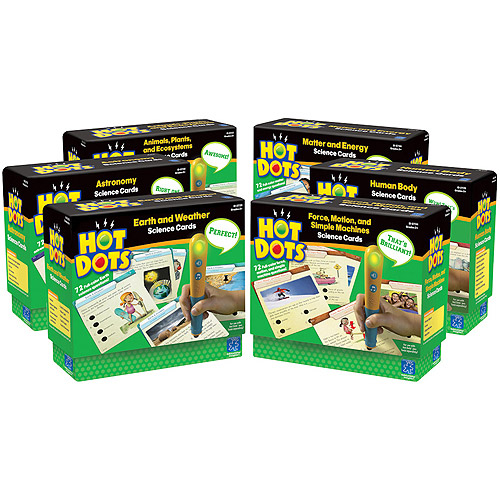***DISCONTINUED***Hot Dots Science Cards Bundle, 6 Card Sets and 6 Pens