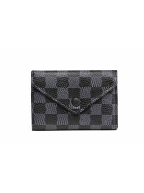 Daisy Rose Tri-fold Checkered Wallet - RFID Blocking with Card Holder Organizer -PU Vegan Leather - Black