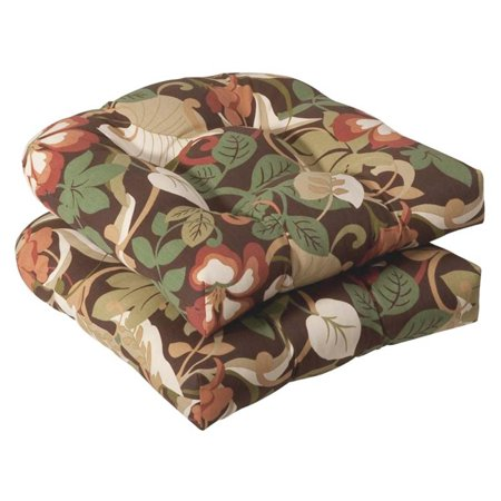 Pack of 2 Outdoor Patio Furniture Wicker Chair Seat Cushions - Floral Cafe