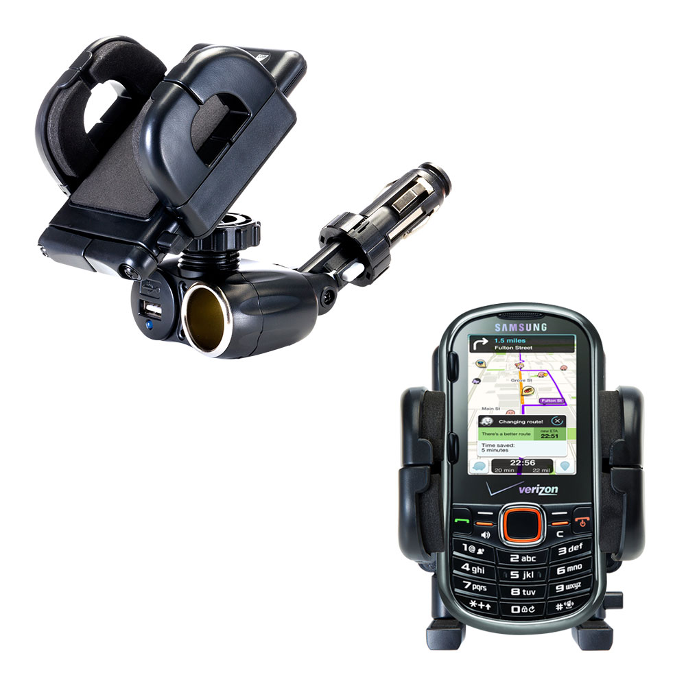 Dual USB / 12V Charger Car Cigarette Lighter Mount and Holder for the Samsung Intensity II