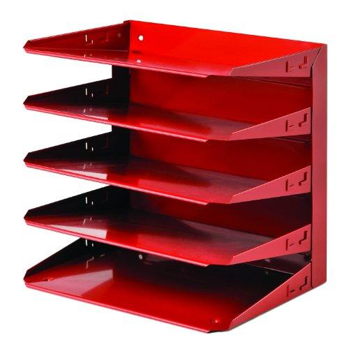 "Steelmaster Letter 5-tier Soho Organizer - 12.1"" Height X 12"" Width X 8.8"" Depth - 5 Tier[s] - Steel - Red (26425l007)"