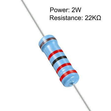 100pcs Metal Film Resistors 22K Ohm 2W 1%Tolerances 5 Color Bands - image 1 de 4