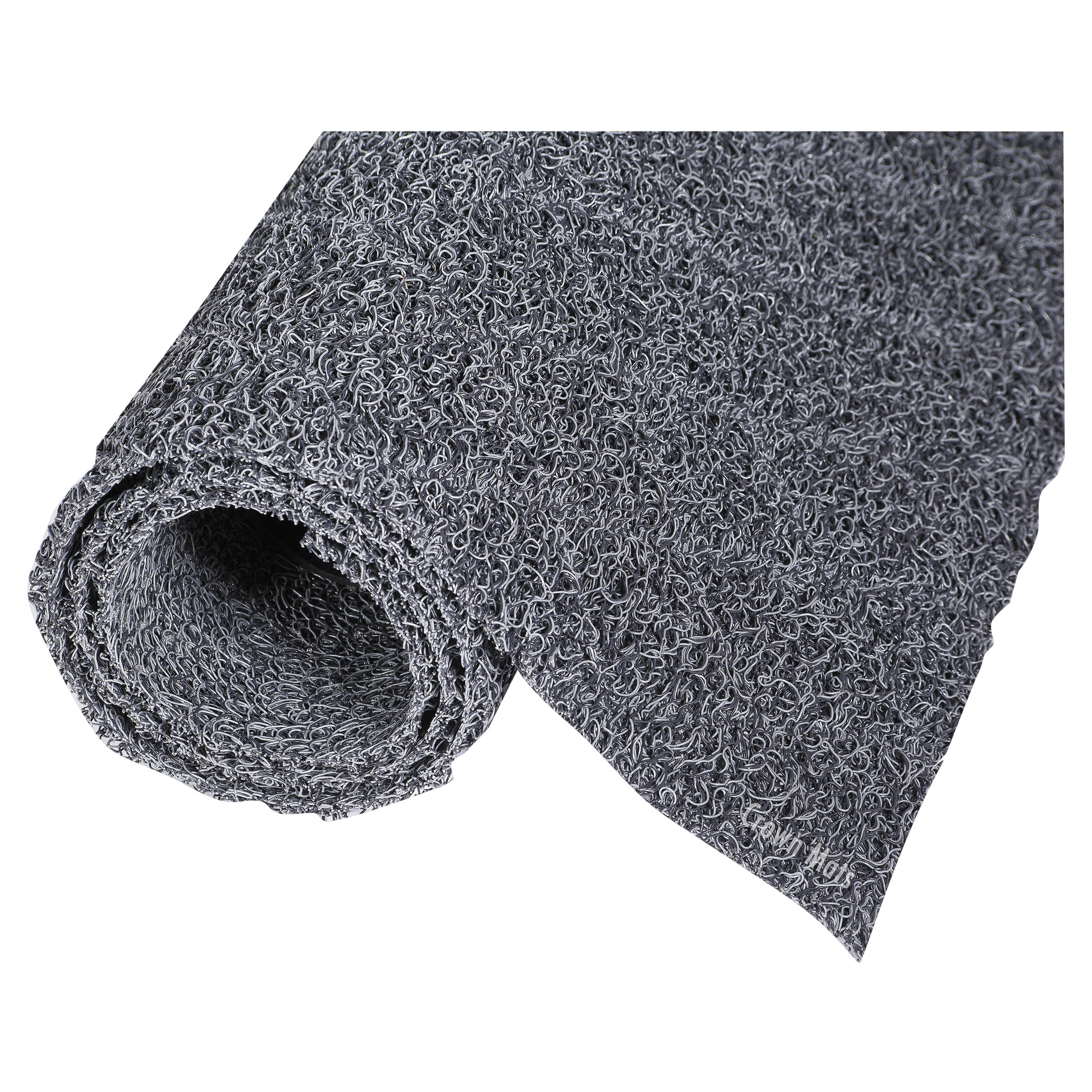 Crown Diamond Deluxe Duet Vinyl-Loop Scraper Mat, Vinyl, 36 x 240, Gray/Black