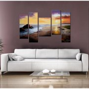 The Lighting Store 'Tranquil Beach' 5-piece Gallery-wrapped Hand Painted Canvas Art Set