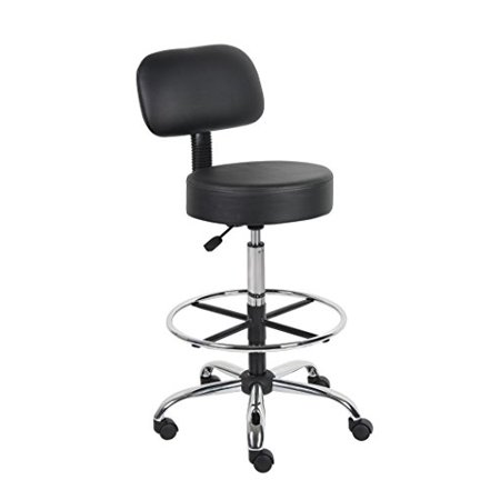 Boss Office Products B16245 Bk Be Well Medical Spa Drafting Stool With Back  Black