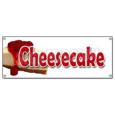 CHEESECAKE BANNER SIGN bakery crust cream cheese strawberry cake baker filling