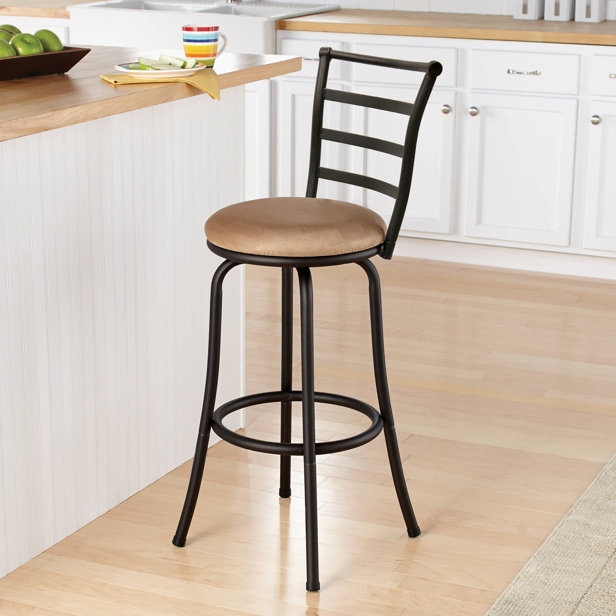 Ladder back chairs with cushions - Mainstays 29 Ladder Back Black Barstool Multiple Colors Walmart Com