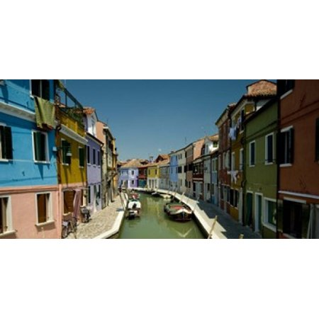 Boats In A Canal Grand Canal Burano Venice Italy Poster Print