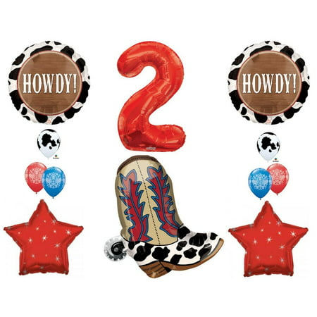 2nd Birthday Cowboy Boots Howdy Party Balloons Decoration Supplies western rodeo - Cowboy Birthday Party Supplies