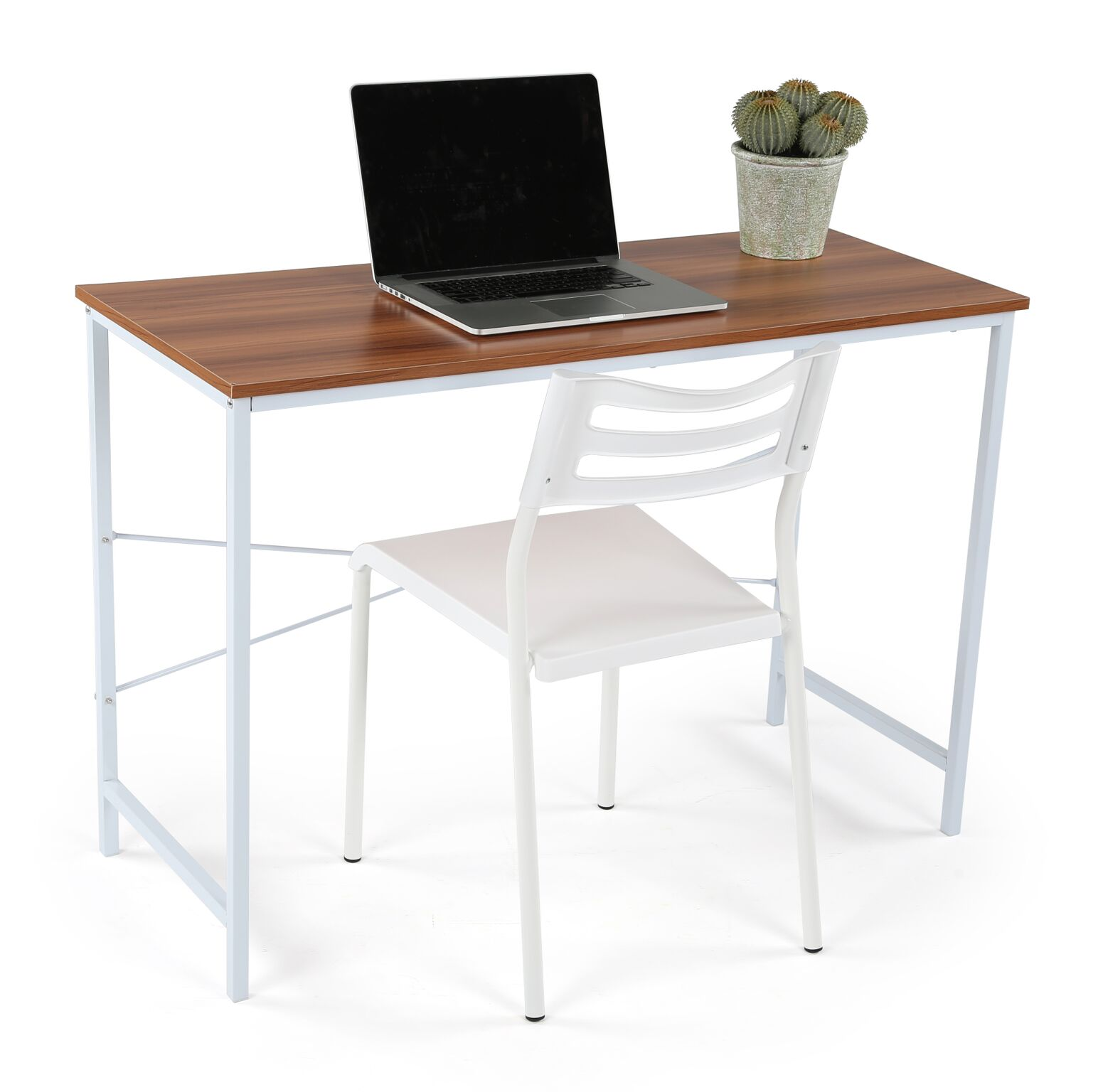 Captivating Lucky Theory Industrial Office Desk, White/Maple