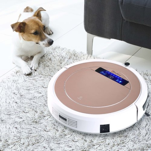 UV-C Sterilizer Robotic Vacuum Cleaner with HEPA Filter, Rose Gold
