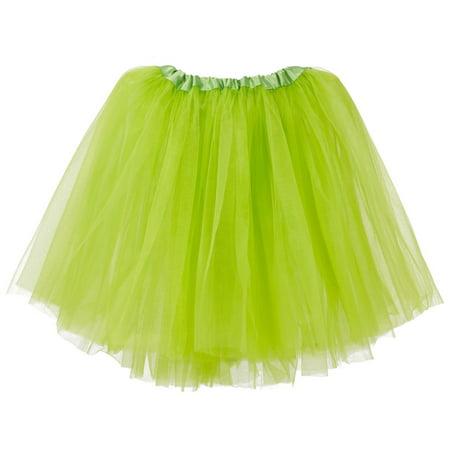 Big Girls Tutu 3-Layer Ballerina Apple Green (Glow In The Dark Tutu For Kids)