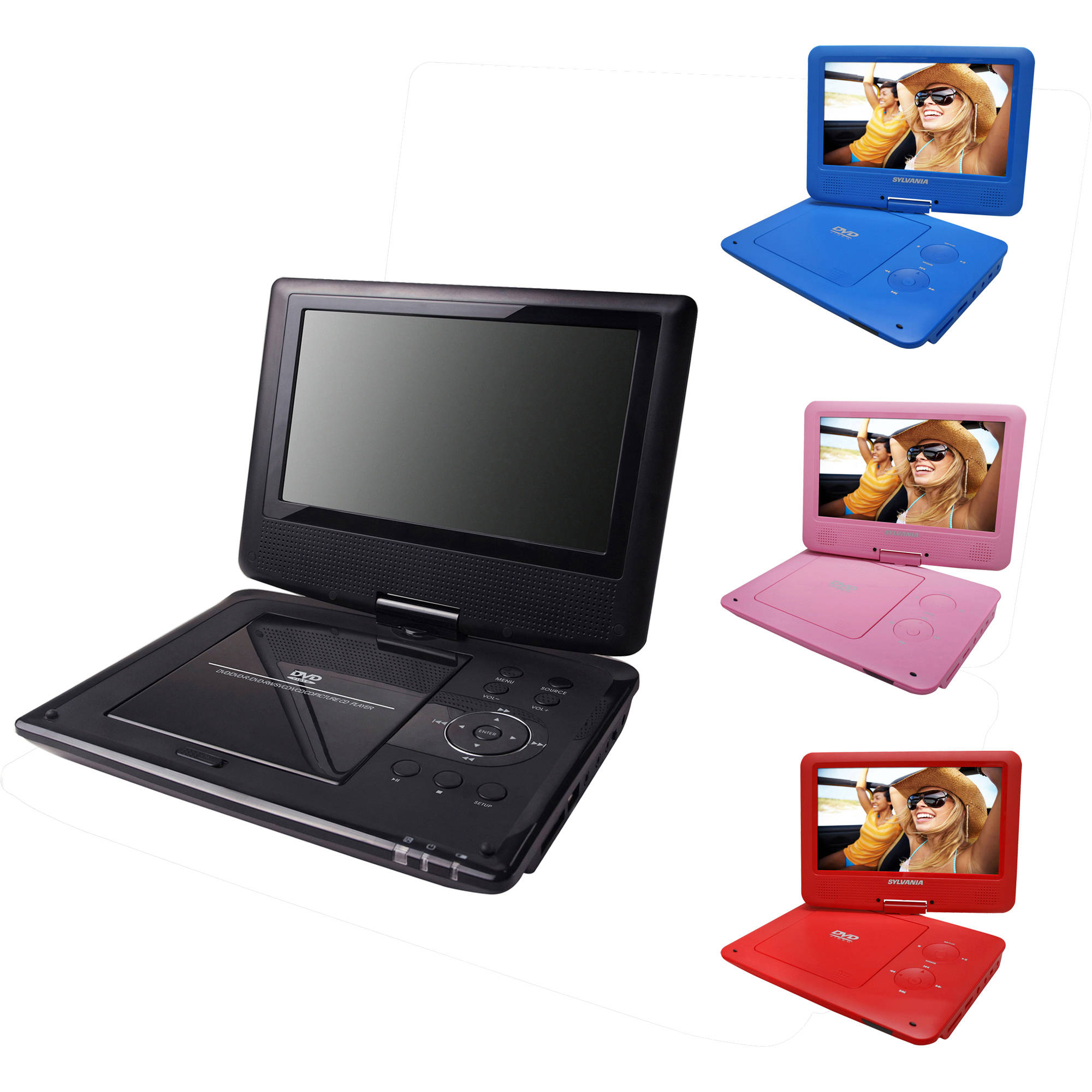 "Sylvania 9"" Portable DVD Player w/ Swivel Screen & 5hr Battery, SDVD9020"